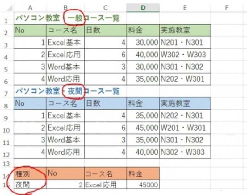 条件によって参照する表を変更したい。こちらでは「一般コース」と「夜間コース」、2つの表を参照したい