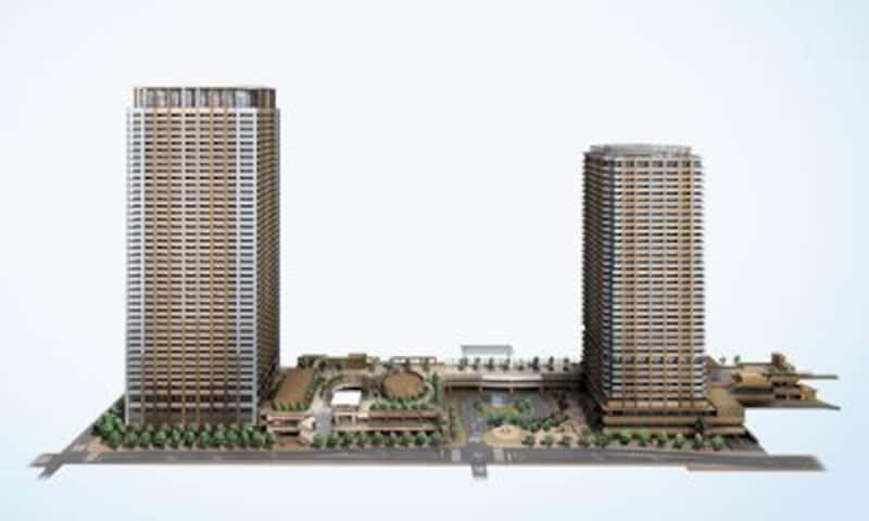 市川南口再開発(I-linkタウンいちかわ)の概況図。