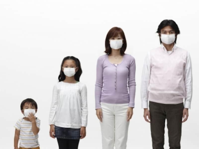 マスクをしている家族