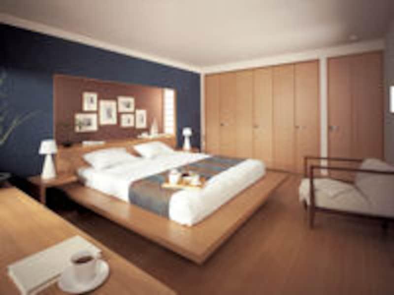 落ち着いた色の寝室
