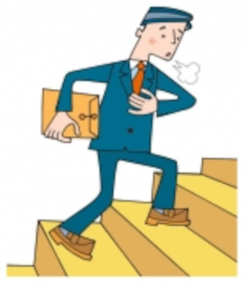階段を登ると強い息切れがするようになれば心不全のおそれがあります。