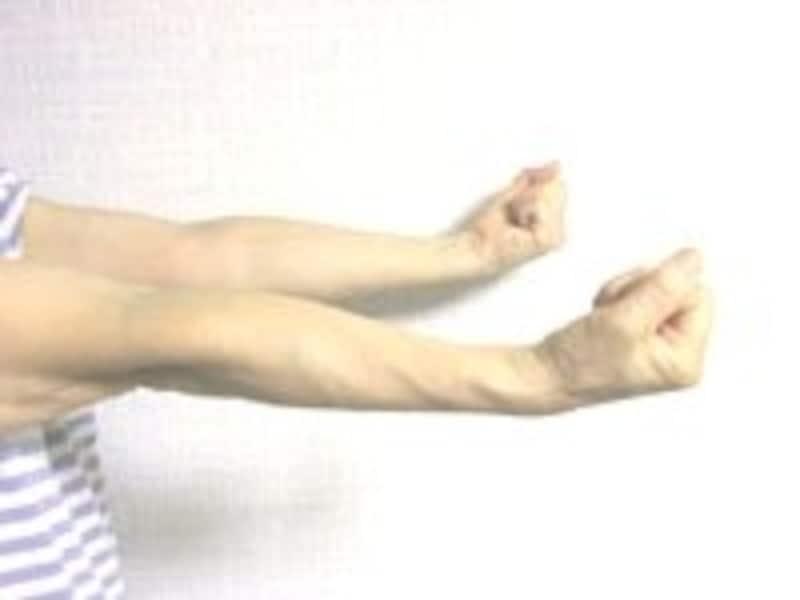 1.ゆっくりと手首を手前へ