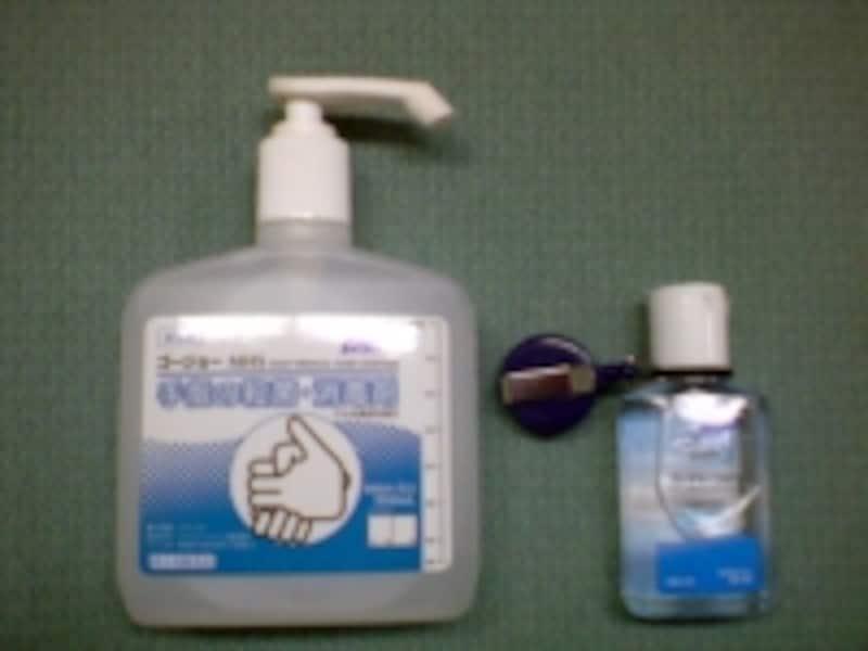 消毒剤はサイズもさまざま。携帯サイズのものは薬局やスーパーでも手軽に購入できます。