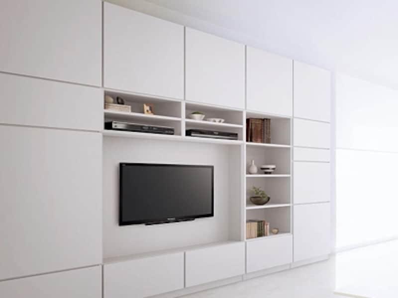 壁掛けパネルと天井までの壁面収納システムを組み合わせればテレビまわりがすっきり。映像機器、パソコンデスクなども組み込まれている(キュビオス/パナソニック)