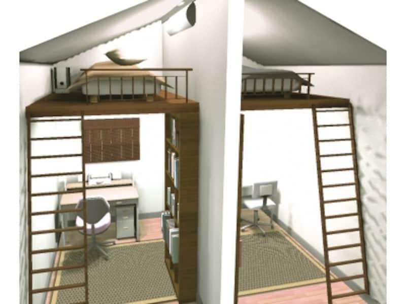 屋根裏活用の子供部屋