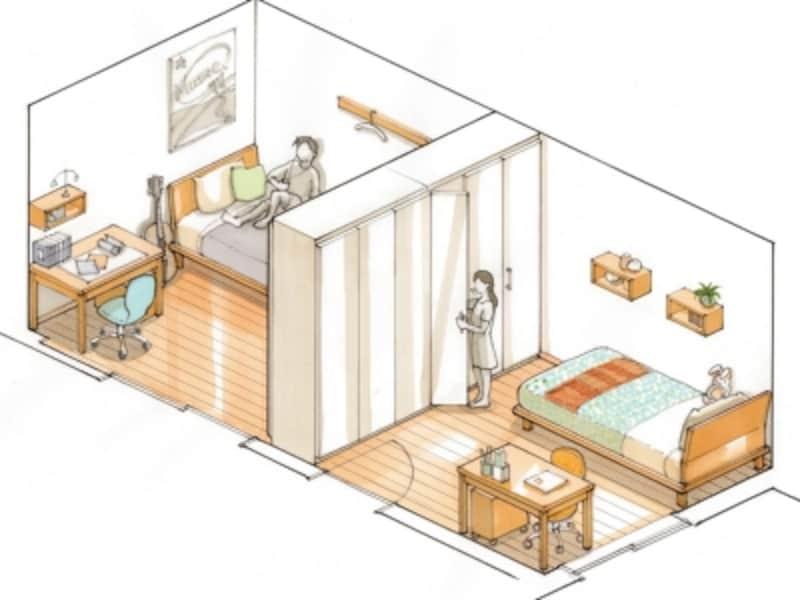 可動間仕切り収納、子供部屋