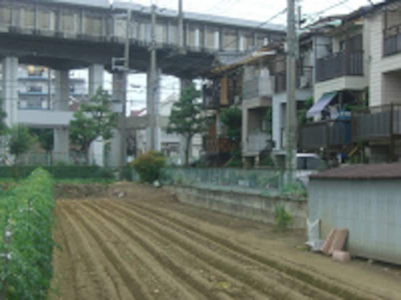 新幹線とと農地