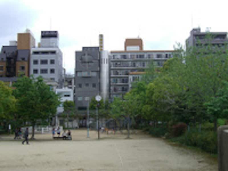 公園越しのマンション