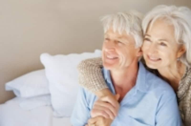 Senior couple on the bed