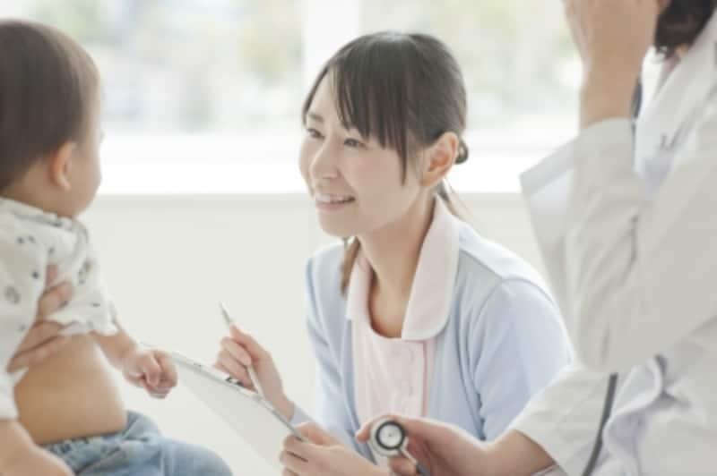 問診する看護師