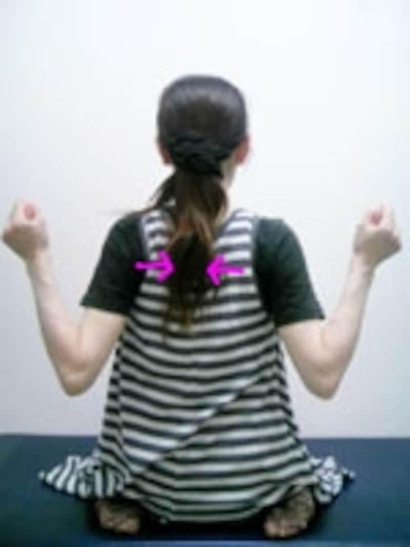 肩こりが強いと動かしにくいかもしれませんが肩甲骨を寄せてみましょう