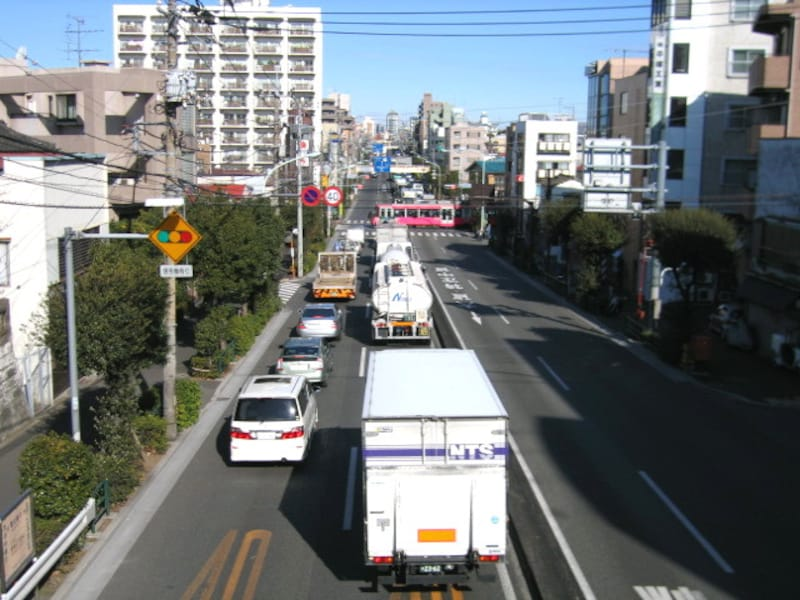 環七と交差する世田谷線
