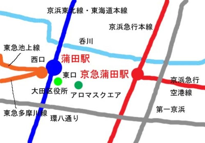 蒲田周辺地図