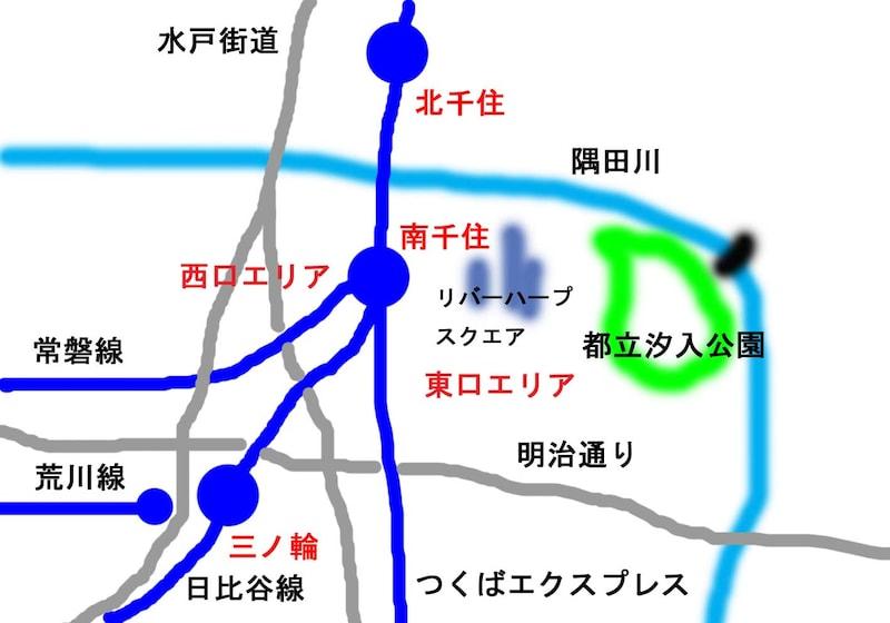 南千住と周囲の位置関係図