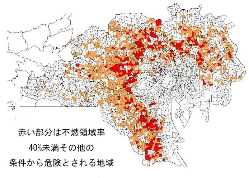 木造密集地の地図