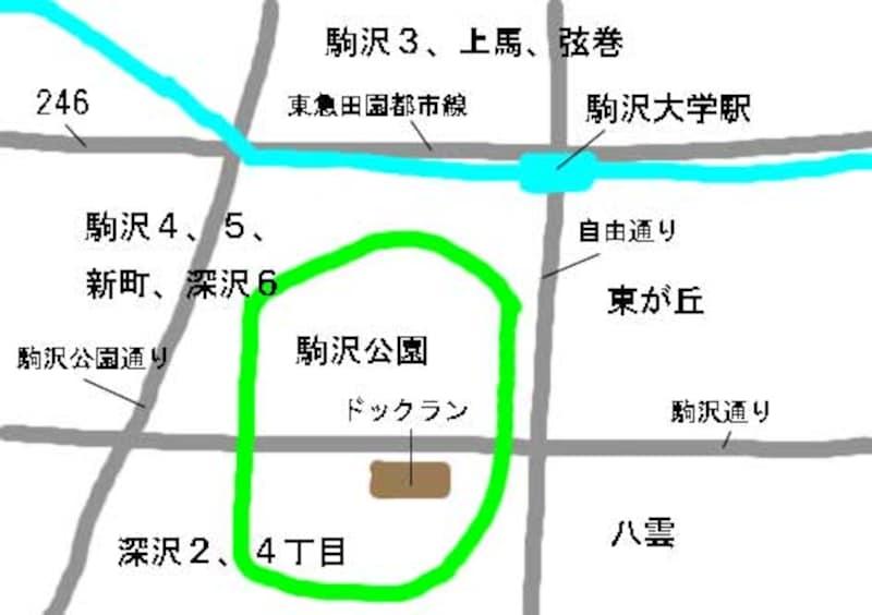駒沢周辺の住宅地図