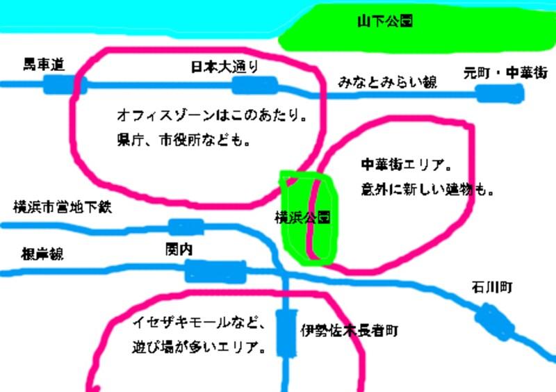 横浜中心部の地図