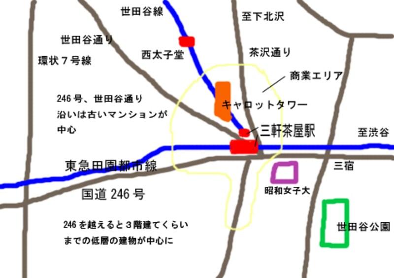 三軒茶屋周辺地図