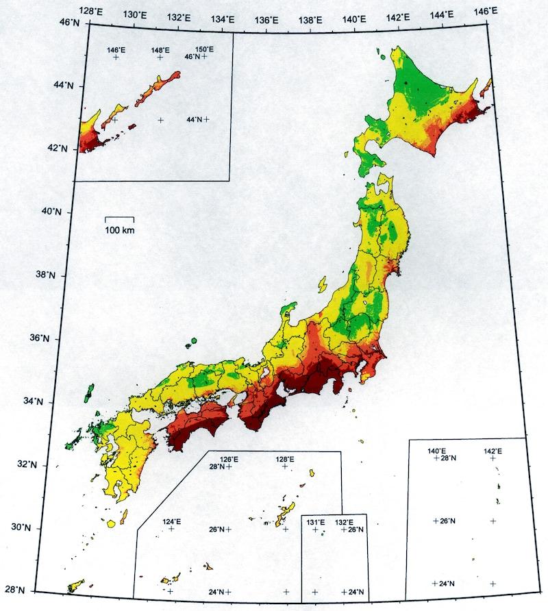 地震の起きる可能性地図