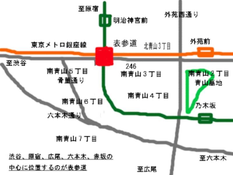 表参道駅周辺地図