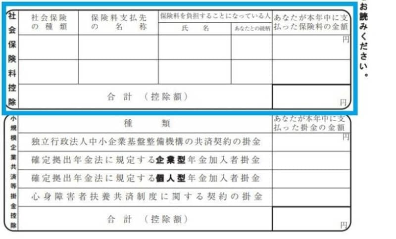 保険料控除申告書 社会保険料控除記載箇所抜粋 (様式出典:国税庁)