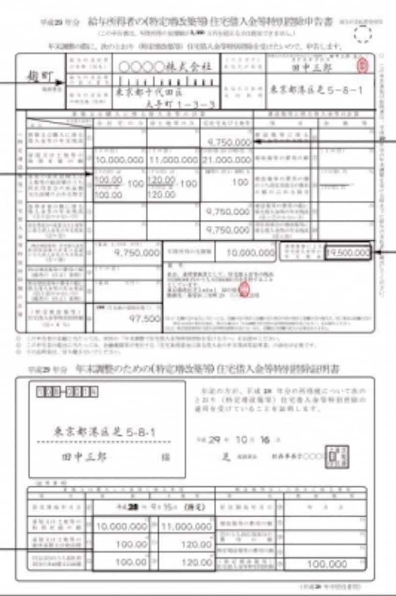勤務先に提出する住宅ローン控除申告書の記載例(出典:国税庁資料より)