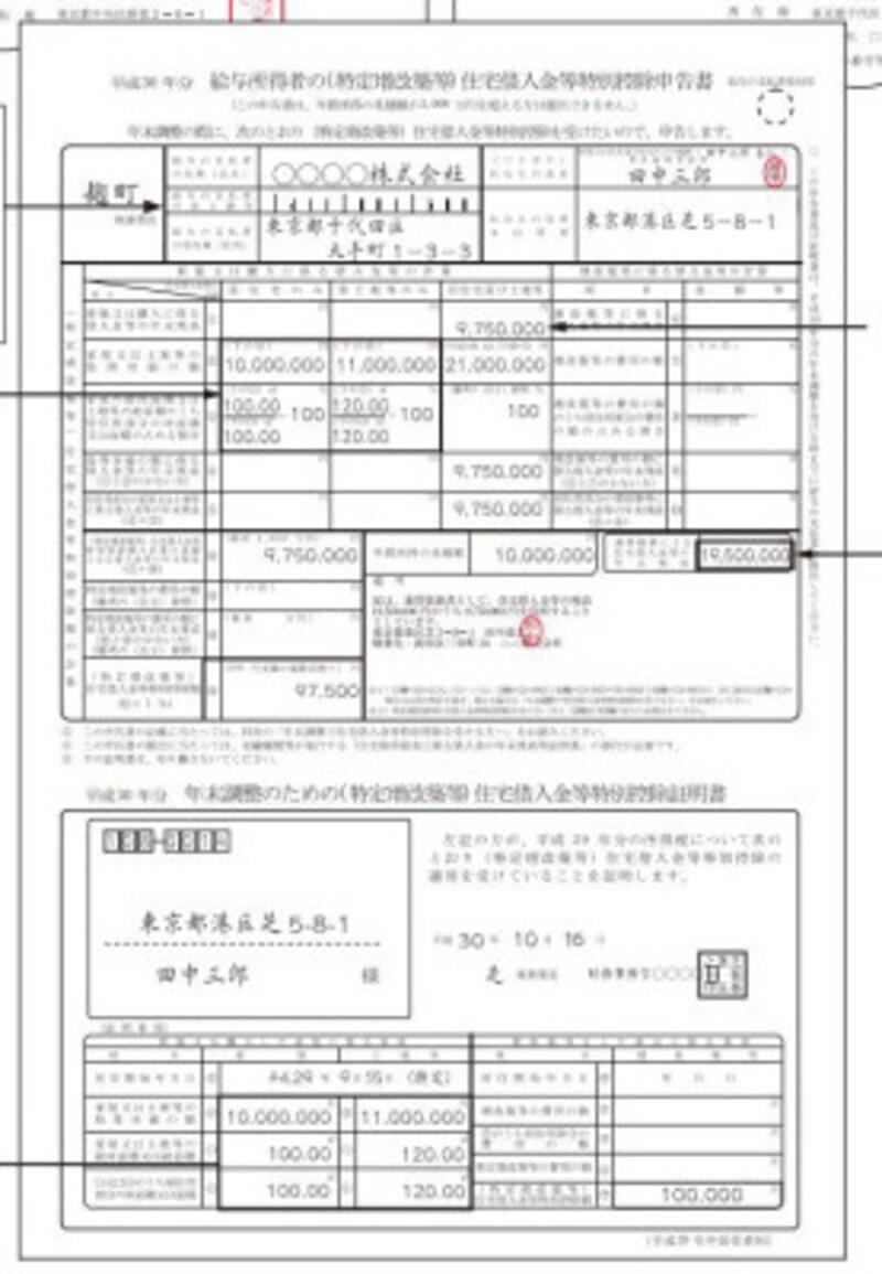勤務先に提出する住宅借入金等特別控除申告書の記載例 (出典:国税庁 年末調整のしかた より)