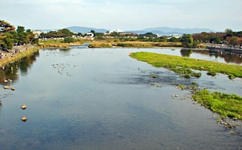 京都の桂川。普通は川に沿って作られる道路だが、京都では川の道筋に関係なく、碁盤の目をしている