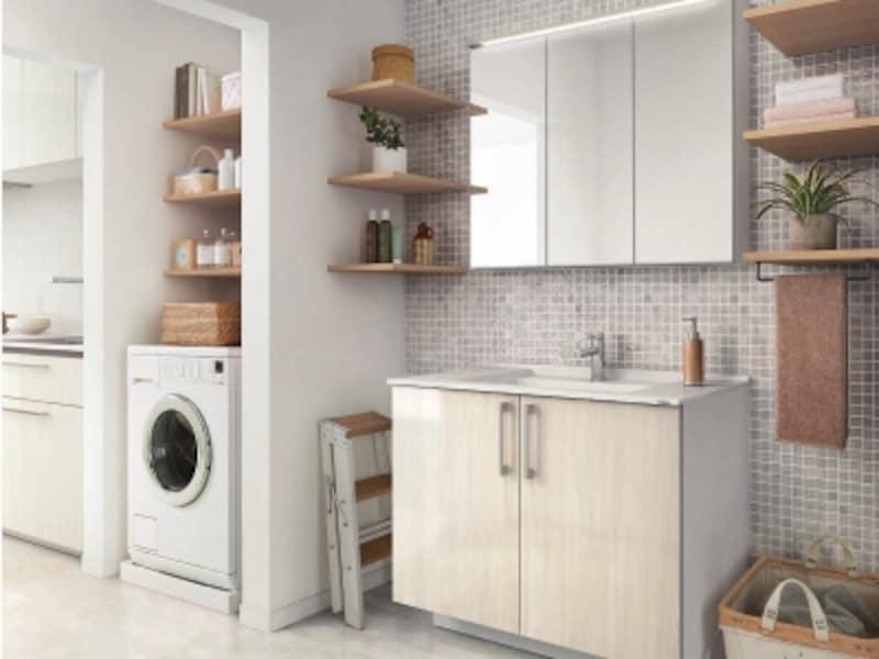 キッチンと洗面室の間に洗濯機を設置した、家事効率の高いプラン。[ESCUA(エスクア)LS]undefinedTOTOundefinedhttp://www.toto.co.jp/