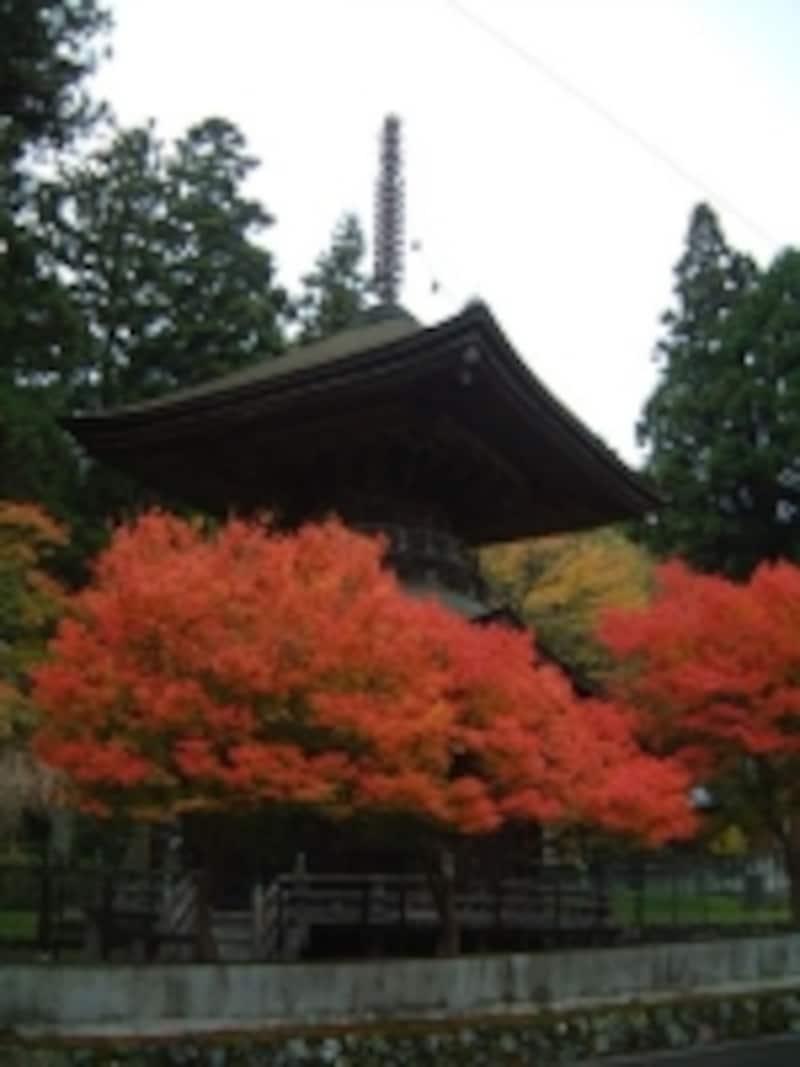 一心院の金輪塔と紅葉