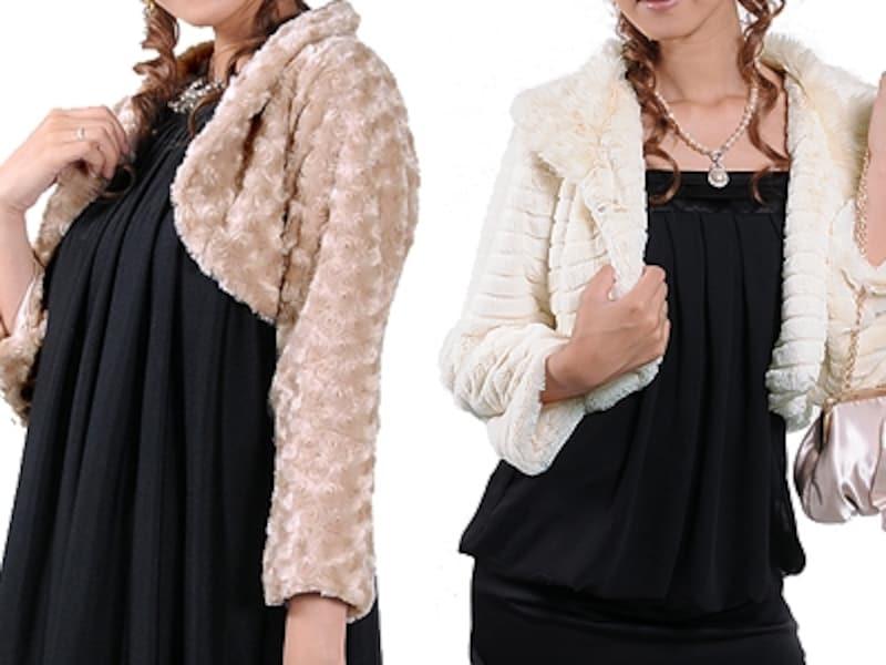 寒い季節のパーティドレスにピッタリの長袖ボレロ