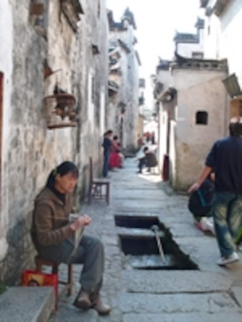 宏村の家並みと水路