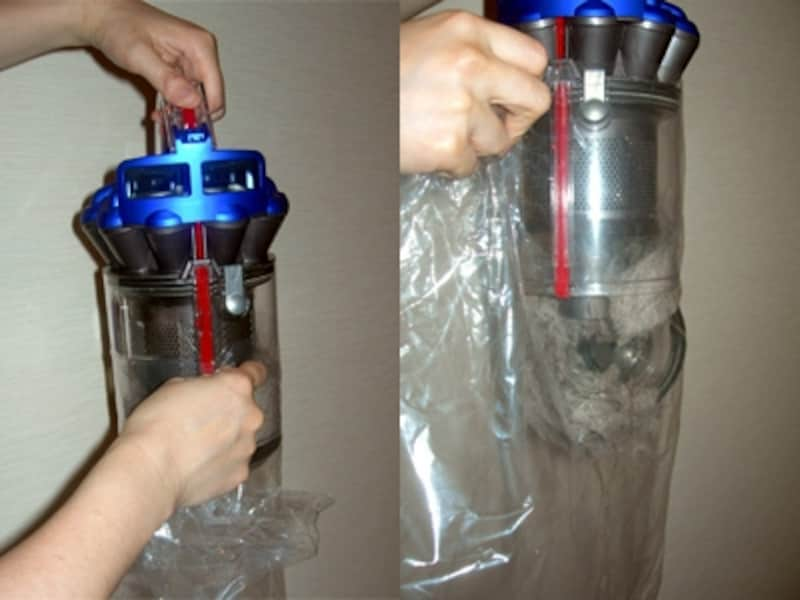 クリアビンを外し、赤いボタンを押して底を開ければOK。普段のゴミ捨ては至って簡単です