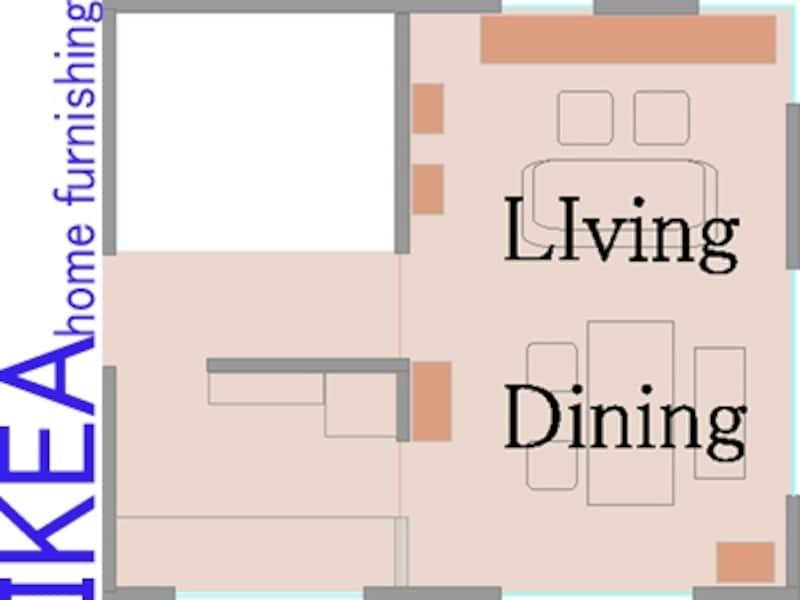 収納家具と平面図、室内展開図
