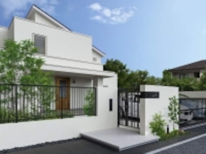 さまざまな住宅に馴染むシンプルなデザインの鋳物のシリーズ。門扉やフェンス、アップゲートなどを組み合わせることができる。[SHALONE(シャローネ)」シリーズ施工undefined門扉、フェンス、アップゲート]undefinedYKKAPundefinedhttp://www.ykkap.co.jp/