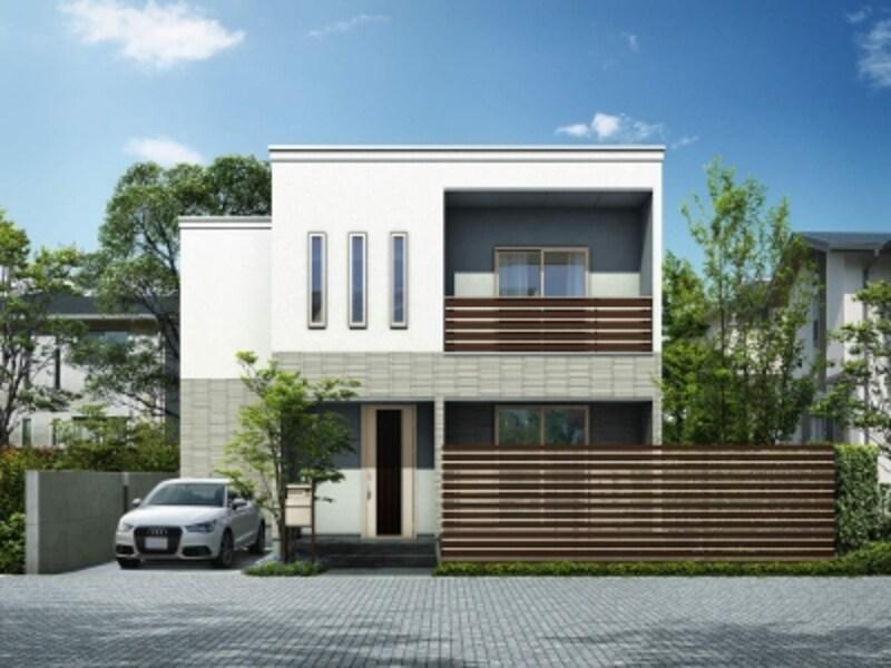横格子のデザインが建物本体との一体感を生み出す。[ルシアススクリーンフェンスS05型横板格子+細横格子T200Z9/H2]undefinedYKKAPhttp://www.ykkap.co.jp/