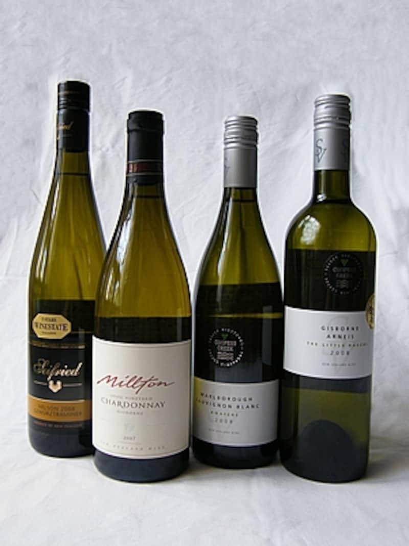 品種は右端からアルネイス、ソーヴィニヨン・ブラン、シャルドネ、ゲヴュルツトラミナー
