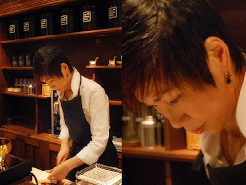 滝口博子さんのきびきびとした的確な動作には、長年、おいしいものを真剣に作ってきた人の美しさがにじみ出ています。