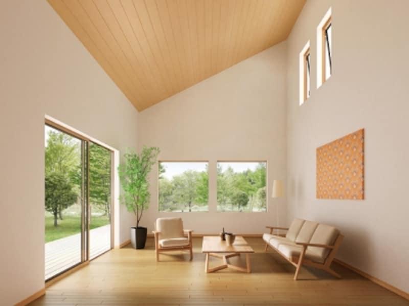 高い位置に設ける窓のスタイルにも配慮したい。[サーモス2-H横すべり出し窓_スクエア]undefinedLIXIL