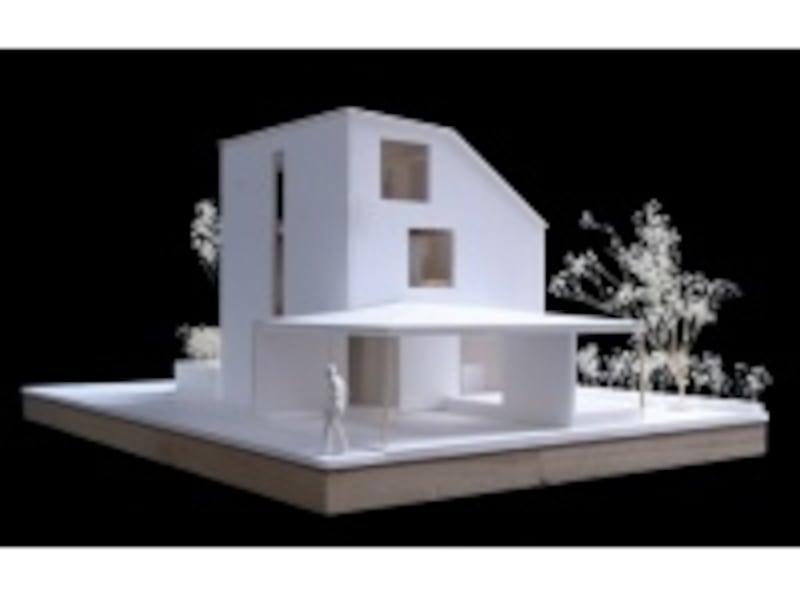 広い敷地の中央にポツンと建てられた3階建ての家