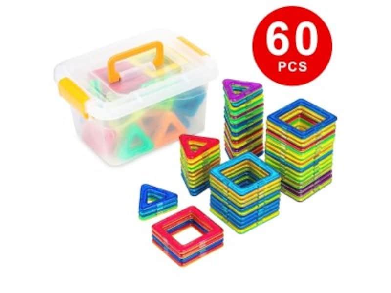 1歳クリスマスプレゼントおもちゃランキング第8位『Kingstarマグネットブロック【60ピース】収納ケース付き正方形*30pcs三角形*30pcs』