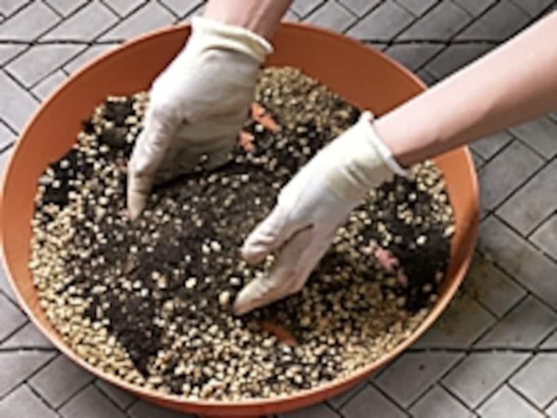 家庭菜園向け、手作り培養土の手順2