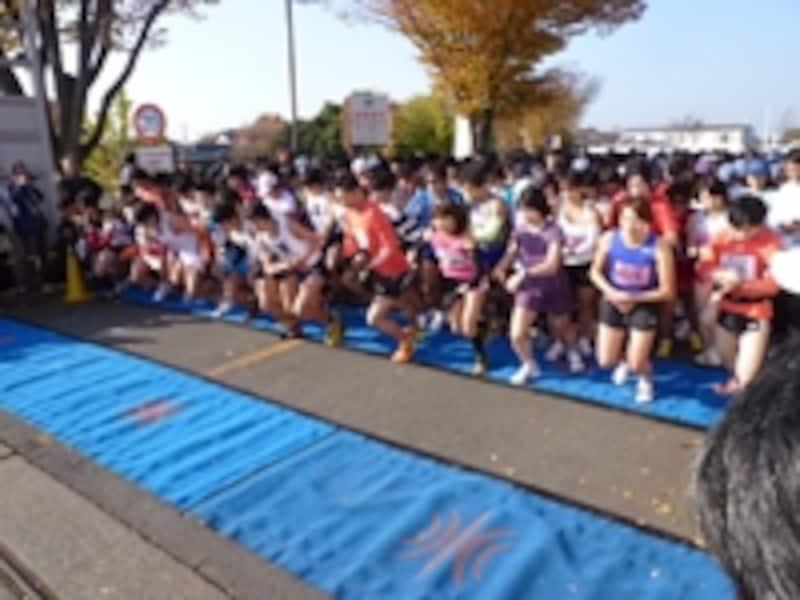 ハーフのスタート。谷川真理さんがゲスト出場。ハーフを軽々と走り観戦者を驚嘆させた