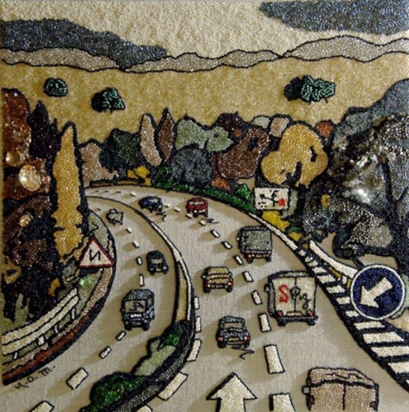 大月雄二郎氏とのコラボ作品。全て刺繍です。
