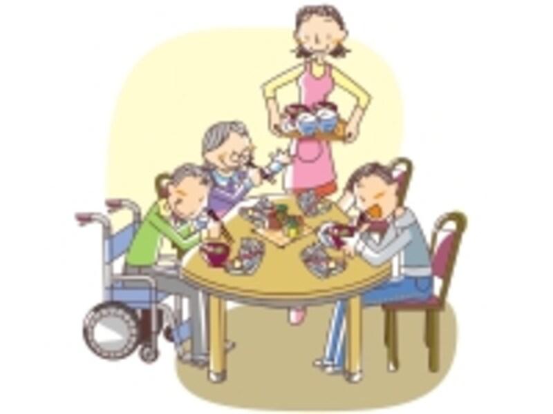 通所介護(デイサービス)では、日帰りで食事や入浴など日常的なサービスを受けることができます