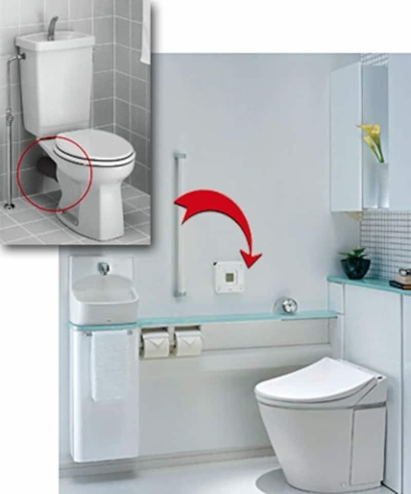 左のような後ろ抜き壁排水タイプの便器から交換リフォームできる一体型便器(レストパルSX/TOTO)