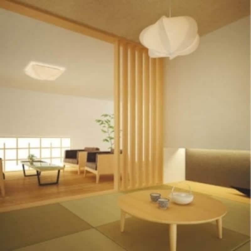 リビング脇のお洒落なモダン和室。柱などの構造材は壁に隠されています(画像:コイズミ照明)