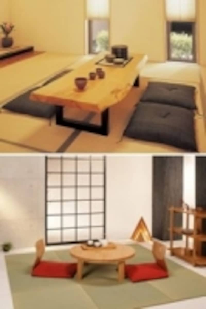 上:大きな木の一枚板の天板に黒のモダンな脚を合わせた座卓。下:竹を使った木目の美しいちゃぶ台。丸型テーブルはみんなで囲みやすい