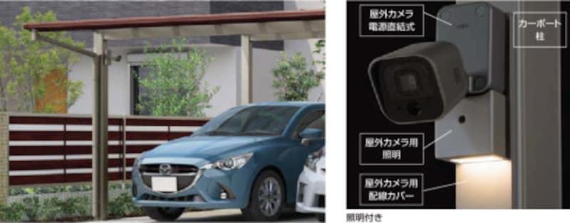 カーポートの柱に設置可能なカメラ。車の様子をスマートフォンで確認可能、センサーが検知してスマートフォンに知らせることも。[カーポートカメラセット] LIXIL http://www.lixil.co.jp/