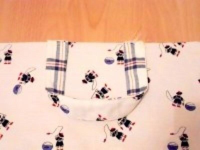 レッスンバッグ作り方・手作り|表布に持ち手を仮縫い